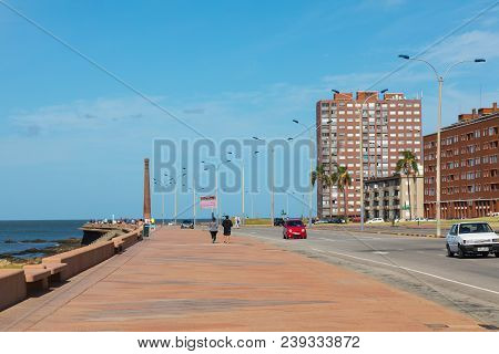 Residential buildings at boulevard in Montevideo, Uruguay. Montevideo is the capital and the largest city of Uruguay. poster