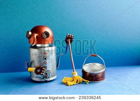 Cleaning Washing Room Service Concept. Funny Robot Janitor Cleaner With Yellow Mop, Bucket Of Water,