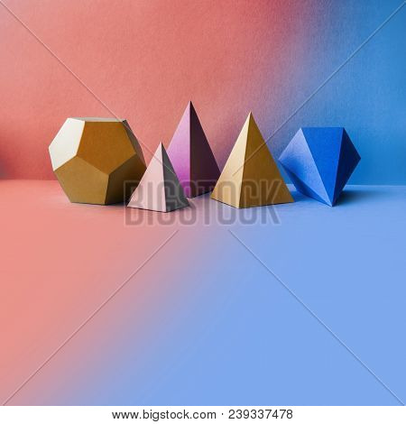 Abstract Geometric Figures. Three-dimensional Dodecahedron Pyramid Tetrahedron Cube Rectangular Obje