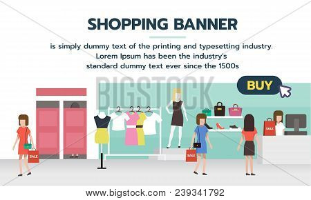 Shopping Banner With Buy Button For Shopping Online. People Shopping In Supermarket And Buying Fashi
