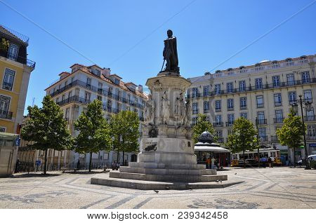 Lisbon, Portugal - July 25, 2009: View Of The Luis De Camoes Square Near Bairro Alto, In The City Of