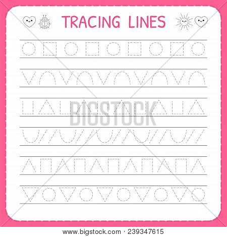 Basic Writing. Trace Line Worksheet For Kids. Preschool Or Kindergarten Worksheet. Working Pages For