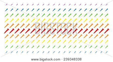 Screw Icon Spectrum Halftone Pattern. Vector Pictograms Arranged Into Halftone Array With Vertical S