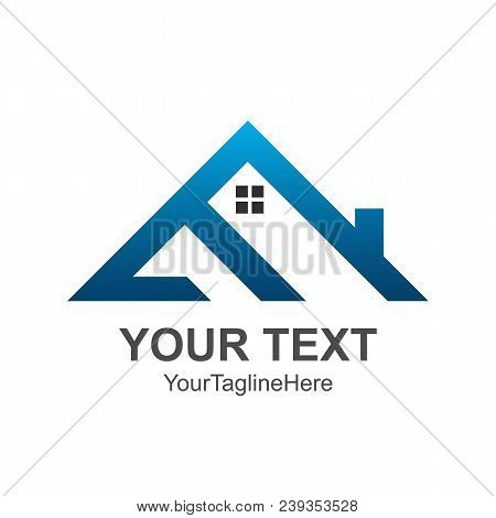 Triangle House Roof And Home Logo Vector Element Colored Blue. Company Logo Design.