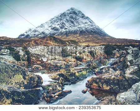 Spring River In Scottish Highlands.  Dramatic Landscape Of Glen Coe During Early Spring, Scotland