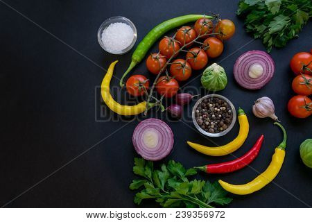 Traditional Latin American Mexican Tomato Sauce Salsa, Chilean Chancho En Piedra In Stone Mortar And