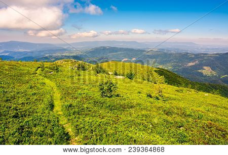 Tourist Footpath Through Mountain Ridge. Beautiful Summer Landscape Under The Gorgeous Blue Sky With