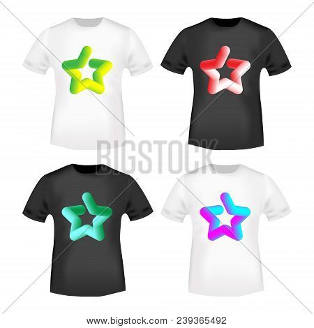 3d Color Star Stamp And T Shirt Mockup. T-shirt Print Design. Printing And Badge Applique Label T-sh