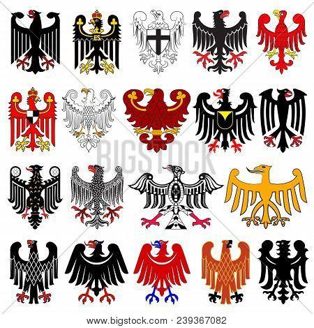 Set Of Heraldic German Eagles. Vector Illustration From Giovanni Santi-mazzini Heraldic 2003
