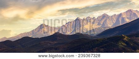 Part Of High Tarta Mountain Ridge At Sunset. View From Poland Side