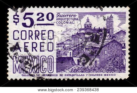 Mexico - Circa 1967: A Stamp Printed In Mexico, Shows Cityscape With Church Santa Prisca, Taxco, Mex