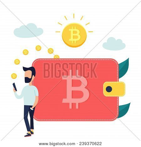 Concept Design Of Cryptocurrency Technology, Bitcoin Exchange, Bitcoin Mining, Mobile Banking. Man R