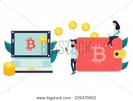 Concept Design Of Cryptocurrency Technology, Bitcoin Exchange, Bitcoin Mining, Mobile Banking. Man A