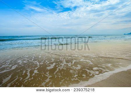 Sea Wave Foam On Karon Beach Phuket Thailand. Exotic Paradise Of Thailand Beach Asia. Peaceful Ocean