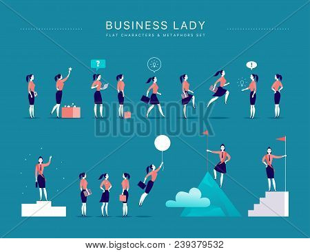 Vector Flat Illustration With Business Lady Office Characters & Metaphors Isolated On Blue Backgroun