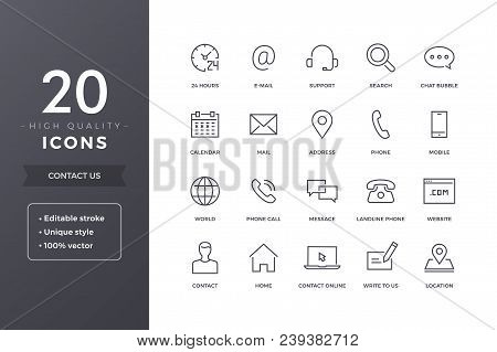 Contact Us Line Icons.  Phone, Address And Mail Icon Set With Editable Stroke