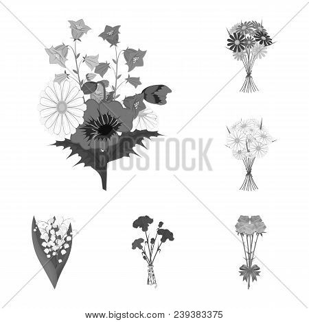 A Bouquet Of Fresh Flowers Monochrome Icons In Set Collection For Design. Various Bouquets Vector Sy