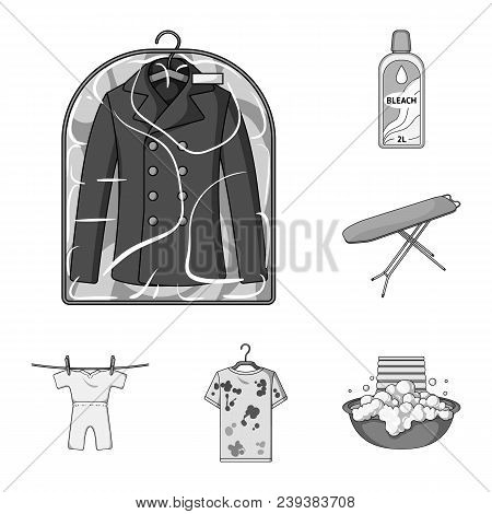 Dry Cleaning Equipment Monochrome Icons In Set Collection For Design. Washing And Ironing Clothes Ve
