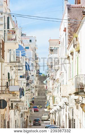 Vieste, Apulia, Italy - Balconies And Facades Of The Old Town