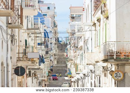 Vieste, Apulia, Italy - Alleyway Through The City Center Of Vieste