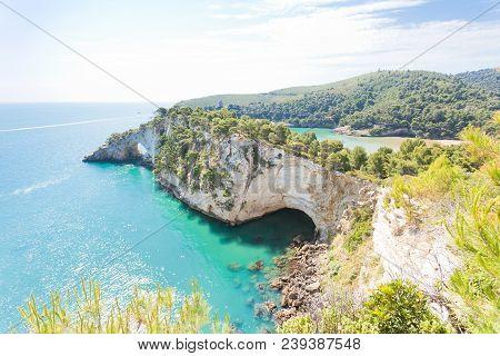 Grotta Della Campana Piccola, Apulia, Italy - Impressive Cave Arch At The Cliffs