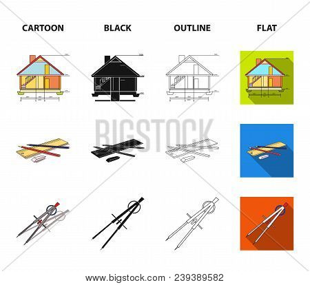 Drawing Accessories, Metropolis, House Model. Architecture Set Collection Icons In Cartoon, Black, O