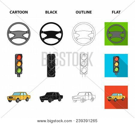 Traffic Light, Old Car, Battery, Wrench, Car Set Collection Icons In Cartoon, Black, Outline, Flat S