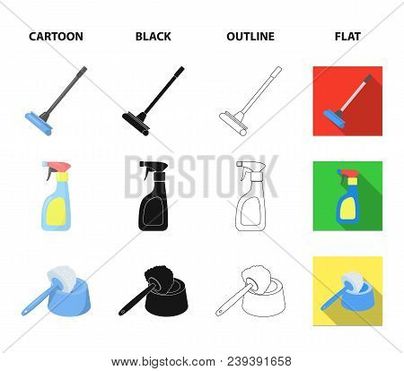 Cleaning And Maid Cartoon, Black, Outline, Flat Icons In Set Collection For Design. Equipment For Cl