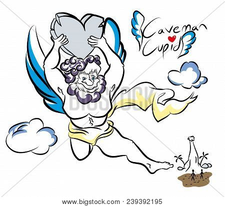 Caveman Cupid An Illustration Of Cupid Character In The First Era.