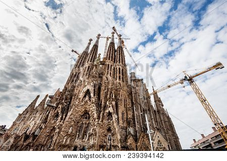 Barcelona, Spain. March 22, 2015: Detail Of The Spires Of Sagrada Familia, Holy Family Work In Progr