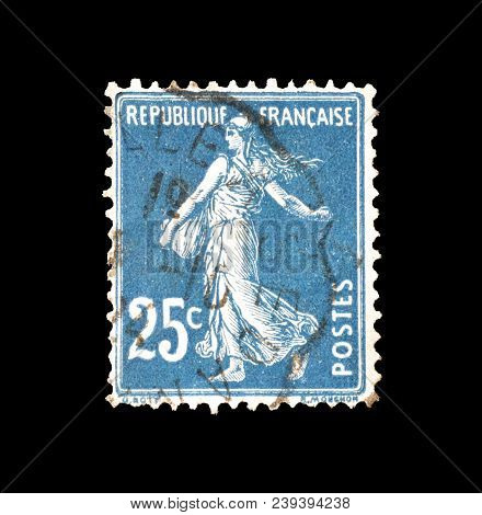 France - Circa 1907 : Cancelled Postage Stamp Printed By France, That Shows Sower.