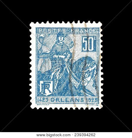 France - Circa 1929 : Cancelled Postage Stamp Printed By France, That Shows Joan Of Arc.
