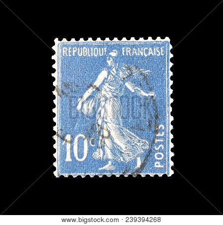 France - Circa 1932 : Cancelled Postage Stamp Printed By France, That Shows Sower.