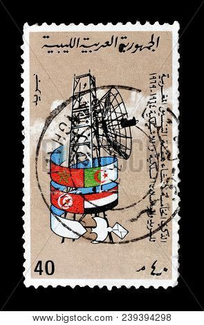 Libya - Circa 1970 : Cancelled Postage Stamp Printed By Cameroon, That Shows Radar And National Flag