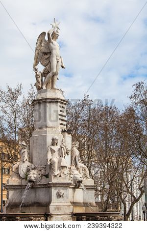 Barcelona, Spain. March 22, 2015: The Monument To The Marquis De Campo Sagrado, Known As Source Of T