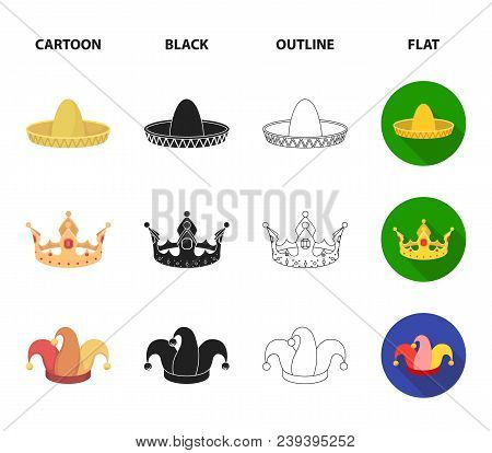 Crown, Jester Cap, Cook, Cone. Hats Set Collection Icons In Cartoon, Black, Outline, Flat Style Vect