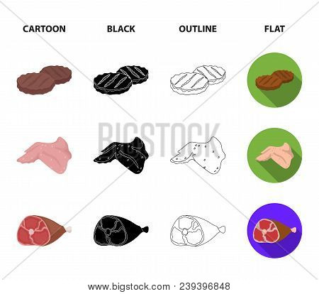 Chicken Wings, Ham, Raw Steak, Beef Cubes. Meat Set Collection Icons In Cartoon, Black, Outline, Fla