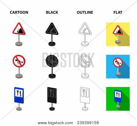 Different Types Of Road Signs Cartoon, Black, Outline, Flat Icons In Set Collection For Design. Warn