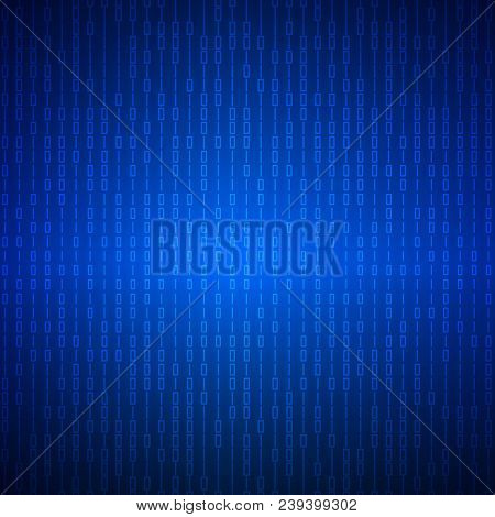 Abstract Stream Of Binary Matrix Code On Blue Screen.  Binary Computer Code. Programming  Coding  Co