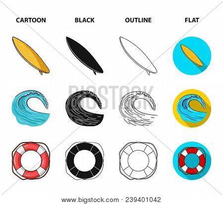 Oncoming Wave, Life Ring, Goggles, Girl Surfing. Surfing Set Collection Icons In Cartoon, Black, Out