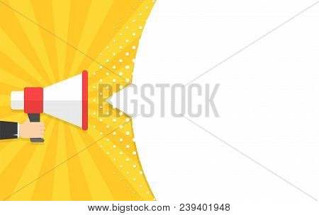 Speech Bubbles Announced By Megaphone, Flat Vector Illustration Background
