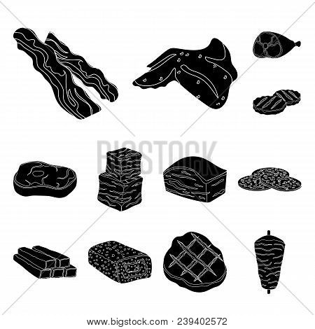 Different Meat Black Icons In Set Collection For Design. Meat Product Vector Symbol Stock  Illustrat