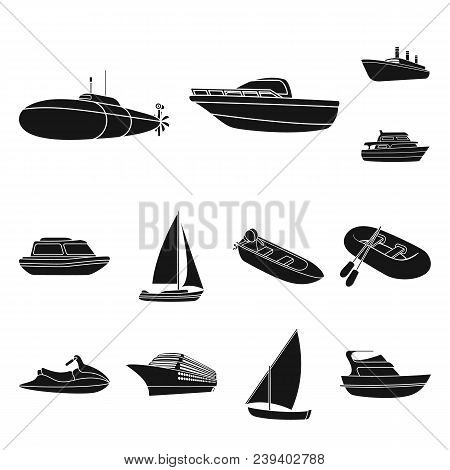 Water And Sea Transport Black Icons In Set Collection For Design. A Variety Of Boats And Ships Vecto