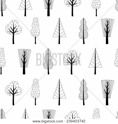 Scandinavian Style Seamless Pattern With Trees. Black And White Vector Illustration