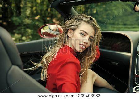 Sexy Woman Drive Car, Fashion, Beauty. Modern Life, Luxury, City, Glamour. Business Trip Or Commandi