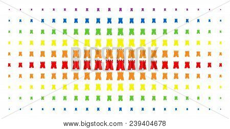 Bulwark Tower Icon Rainbow Colored Halftone Pattern. Vector Bulwark Tower Items Are Organized Into H