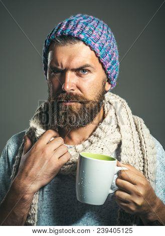 Portrait Bearded Man Drinking Hot Beverage On Cold Winter Day. Cold Season - Warm Beverage. Man Warm