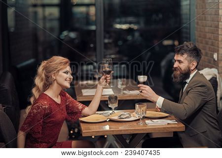Valentines Day With Sexy Woman And Bearded Man. Proposal And Anniversary. Couple In Love At The Rest