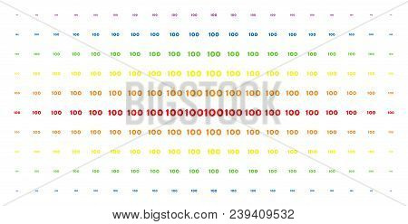 100 Text Icon Spectral Halftone Pattern. Vector 100 Text Items Are Arranged Into Halftone Grid With