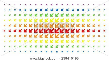 Arrow Down Left Icon Rainbow Colored Halftone Pattern. Vector Arrow Down Left Items Are Arranged Int